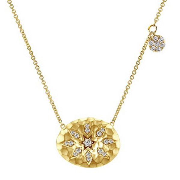 Gabriel 14K Yellow Gold Sand Dollar Diamond Necklace Featuring 0.22 Cts Round Cut Diamonds. Online prices. Free Shipping. Layaway Available. Style NK4916Y45JJ