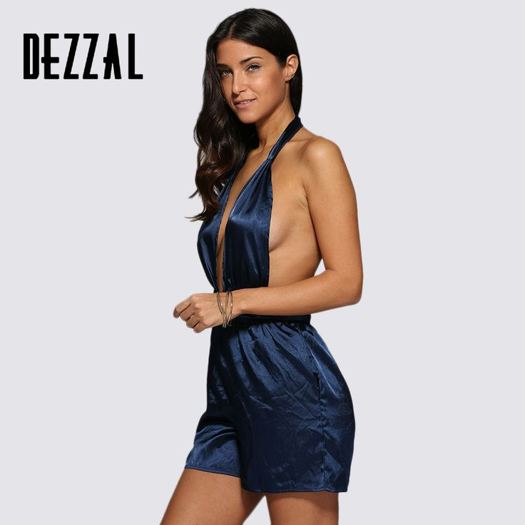 Find More Rompers Information about DEZZAL 2016 Sexy Halter Backless Women Jumpsuit Short Satin Sleeveless Beach Romper Deep V Neck Silk Playsuit Summer Overalls,High Quality silk,China silk overalls Suppliers, Cheap summer overall from AZULINA Store on Aliexpress.com