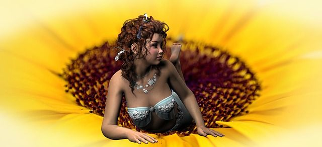 Elf, Meisje, Sun Flower, Mooie, Fantasie, Ontspannen