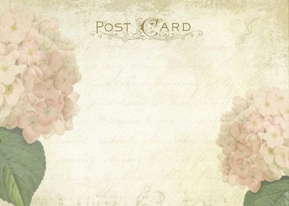 printable vintage postcard, shabby hydrangea wedding invitation ...