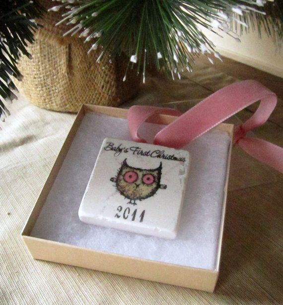 Baby's First Christmas Ornament, baby girl pink owl, including Gift Box