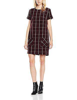 10, Red (Dark Burgandy), New Look Women's Wine Check Pinny Dress NEW