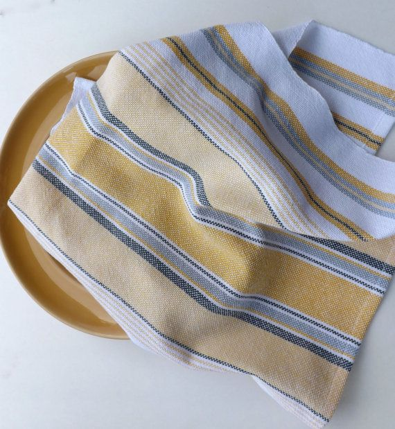 Handwoven Dishtowel in Yellows & Blues, Chef Towel, Tea Towel, Dish Towel