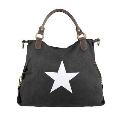 Photo of WOMEN'S STAR SHOPPER Canvas LEATHER HAND BAG Shoulder Bag Shoulder Bag BAG …