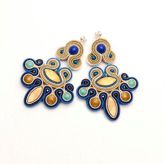 Chandelier bohemian earrings gold, navy, turquoise, blue. Statement earrings soutache. Unique gift for boho women. Festival earrings fancy.