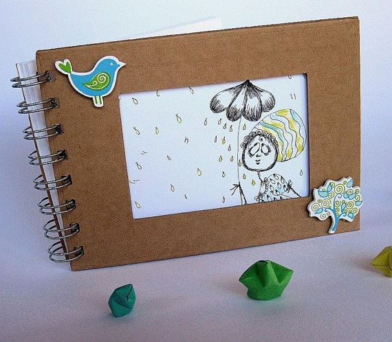 OOAK Blank hand drawn paper art album notebook green by gufobardo, €24.00
