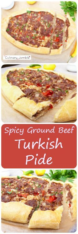 Pide is a Turkish pizza type dish and delicious. This one has spicy ground beef made with chillies and packs a mighty punch. The pide is homemade, entirely from scratch!