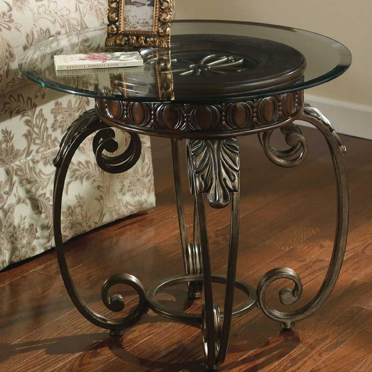 Best Tullio Metal Round End Table With Glass Top By Signature 400 x 300