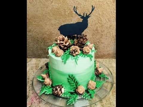 Liz Creates a Woodsman's Themed Cake in Buttercream and Candy Melt. A Tutorial demonstrating Piped Techniques including Pinecones and an Ombre Effect . Mascu...
