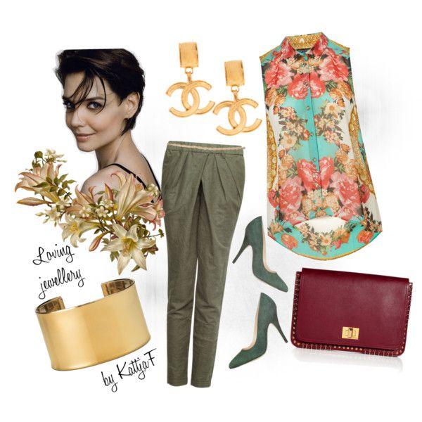"""""""Gold earrings, cuff bracelet, khaki & flowers"""" by kattjaf on Polyvore"""