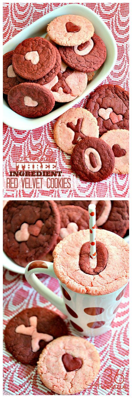 Three Ingredient Pink and Red Velvet Cookie Recipe. These are yummy and adorable for Valentine's Day! #valentines #recipe