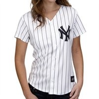 Majestic New York Yankees Ladies White Pinstripe Replica Baseball Jersey