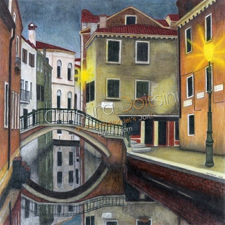 Venice. Mixed media drawing: coloured pencils, pastels, pencil, charcoal and chalk