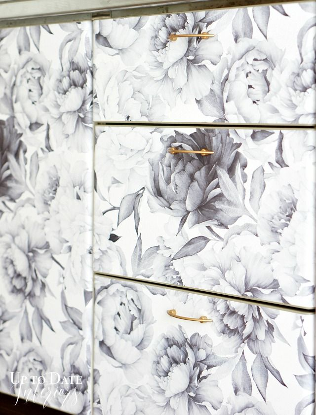 Amazing Wallpaper Inspiration! Update Your Kitchen Cabinets with Removable Wallpaper from @wallsneedlove! It's Perfect for Renters! One Room Challenge: Rental Kitchen Reveal - Up to Date Interiors