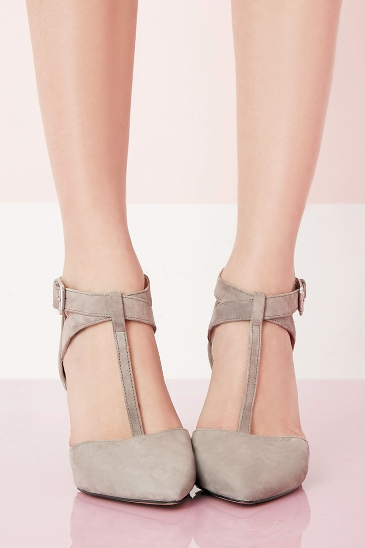 T-strap mid heel pumps in soft grey suede | Sole Society Avalon