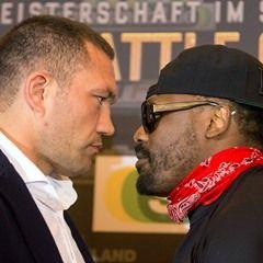 Heavyweight boxers Kubrat Pulev and Dereck Chisora at press conference in Hamburg