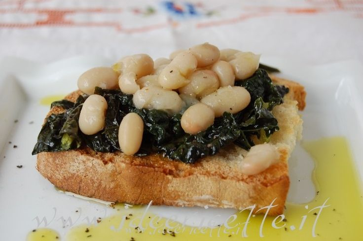 Ricetta Crostini con cavolo nero, fagioli zolfini e olio nuovo