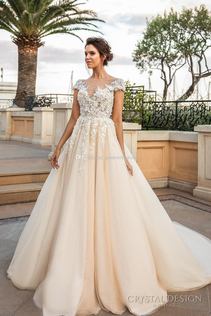Cap Sleeves 3d Flora Lace Appliques Heavily Embroidered Wedding Dresses 2017 V Neckline Romantic Princess Ivory Creame Camo Wedding Gowns Bridal Wear Brides Dresses From Gonewithwind, $402.02  Dhgate.Com