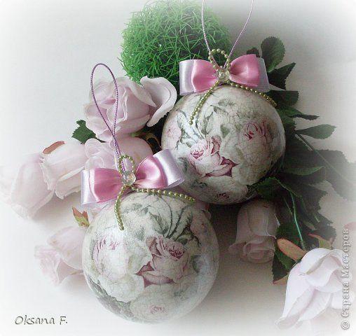 Декор предметов Новый год Декупаж Кракелюр Елочные шары Roses tendresse Салфетки фото 1