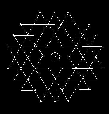 8 - 3 interlaced dots (Idukku Pulli) Kolam - Start with 8 dots in the center, next 7 interlaced dots and again 8 interlaced dots. Then - put interlaced dots at both ends and stop at 3.