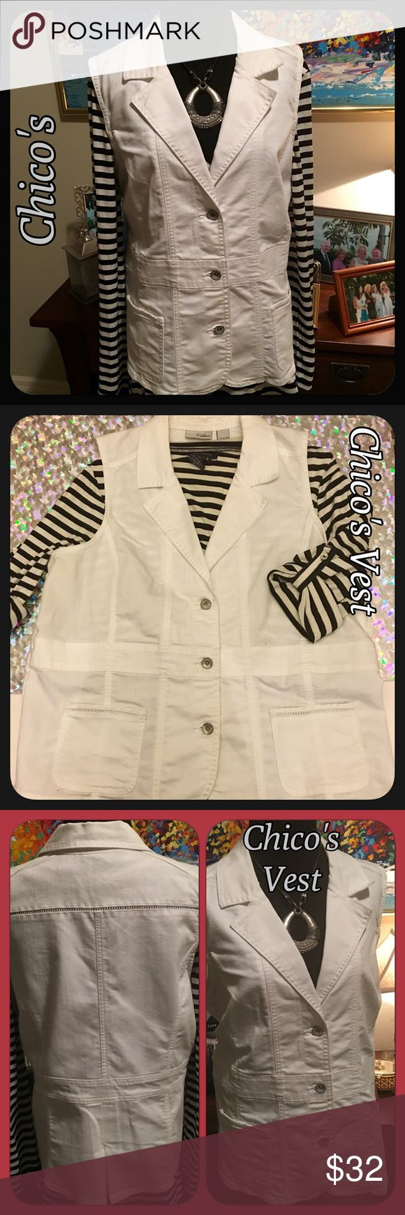 🌷Chico's Button Up White Jean Vest Sz 16 Chico's really cute white Jean vest. Chico's size 3, which is a 16. 2 front pockets.!Look at pic 4 for cute detailing on vest! Lots of different looks you could have with this! Like new condition! No flaws! 71% Cotton 29% Elasterell Chico's Jackets & Coats Vests