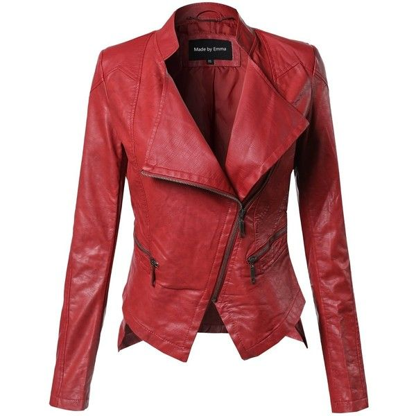 MBE Women's Bike Rider Moto Leather Jacket at Amazon Women's Coats... ($20) ❤ liked on Polyvore featuring outerwear, jackets, red jacket, real leather jackets, 100 leather jacket, genuine leather jackets and red leather jackets