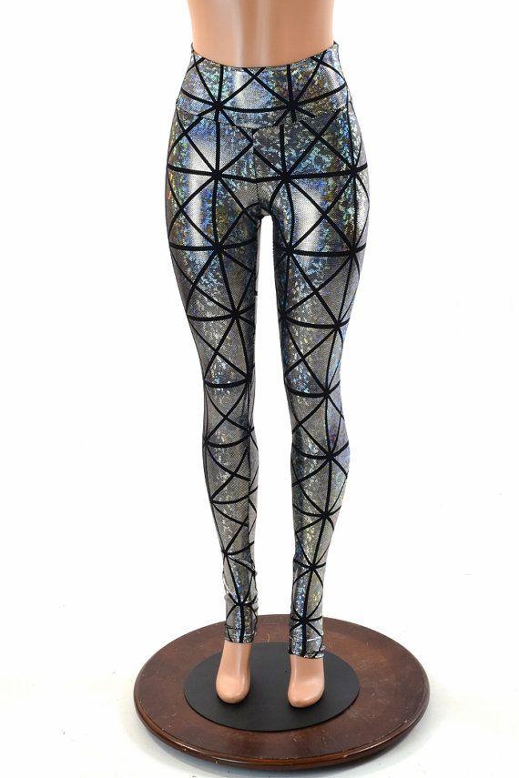 Silver on Black Cracked Tiles Holographic High Waist Lycra Spandex  Leggings  -151878