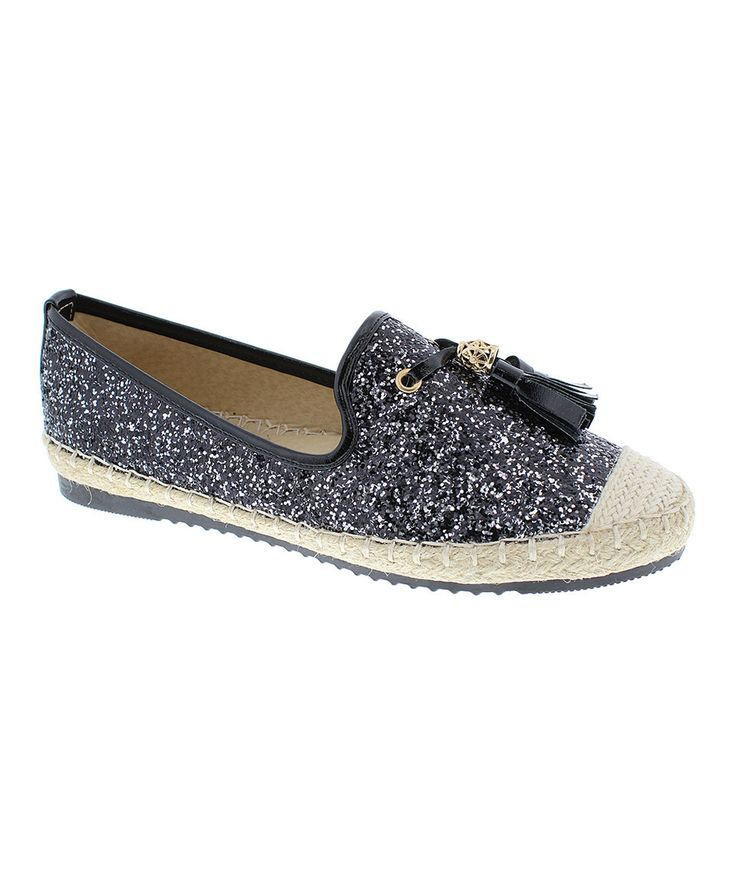 Love this Step Up Shoes Black Sparkle Tassel Tommy Shoe by Step Up Shoes on #zulily! #zulilyfinds