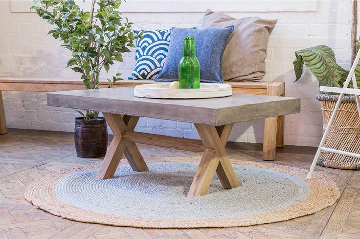 Castello Industrial Contemporary Concrete Coffee Table // Sarni Round Jute Rug // Buy them at Schots Melbourne, Australia