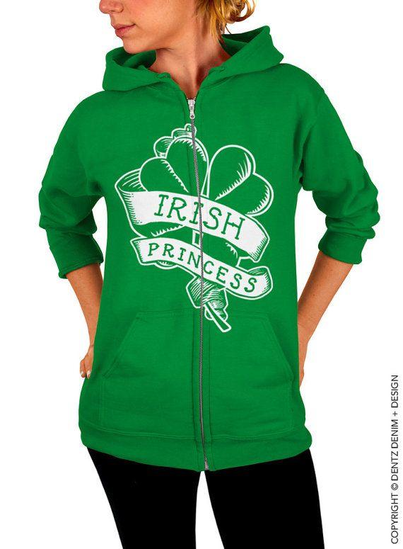 "Use coupon code ""pinterest"" Irish Princess Zip Up Hoodie - St. Patrick's Day - Green Zip Up Hoodie Hooded Sweatshirt by DentzDenim"