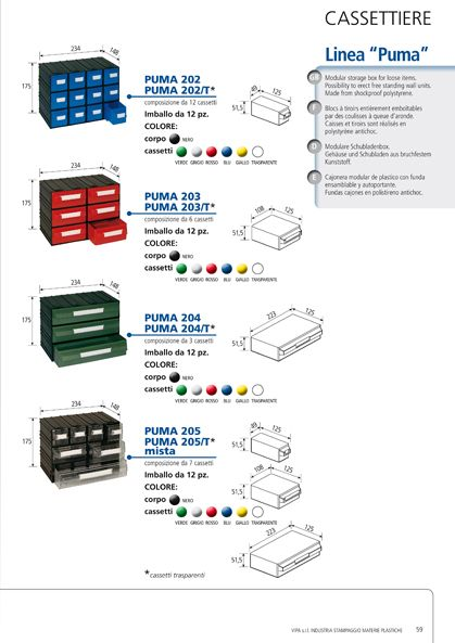 Modular storage box made in shockproof polystyrene. Possibility to build up free standing wall units.