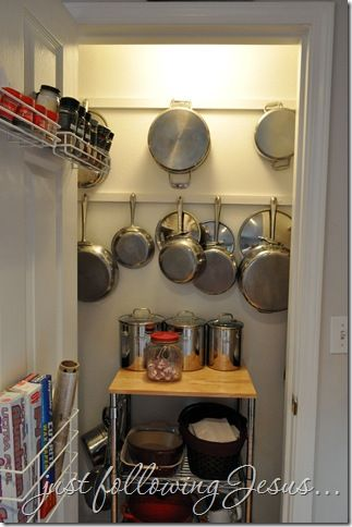 Great Pantry With Hooks For Pots And Pans On Wall Awesome Ideas