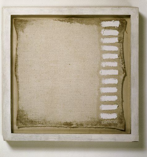 """Robert Ryman, """"A painting of twelve strokes, measuring 11 1/4"""" x 11 1/4"""" signed at the bottom right corner"""" (1961) 