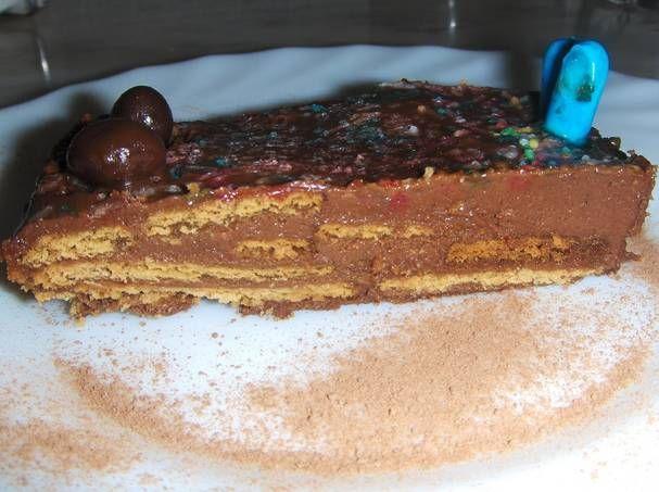 Tarta de galleta chocolateada