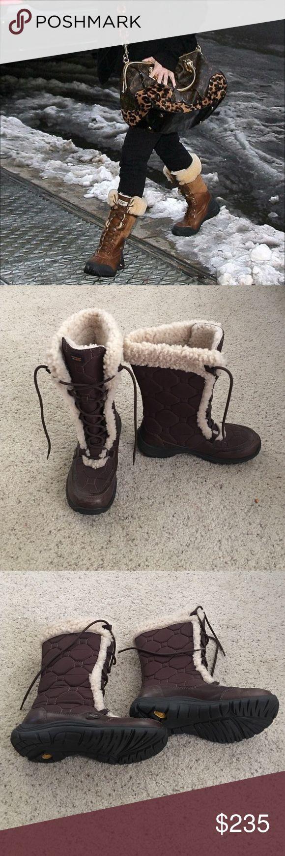 "UGG adirondack tall waterproof boots UGG ""Adirondack"" tall waterproof boots in EUC color dark brown with tan fur. UGG Shoes Winter & Rain Boots"