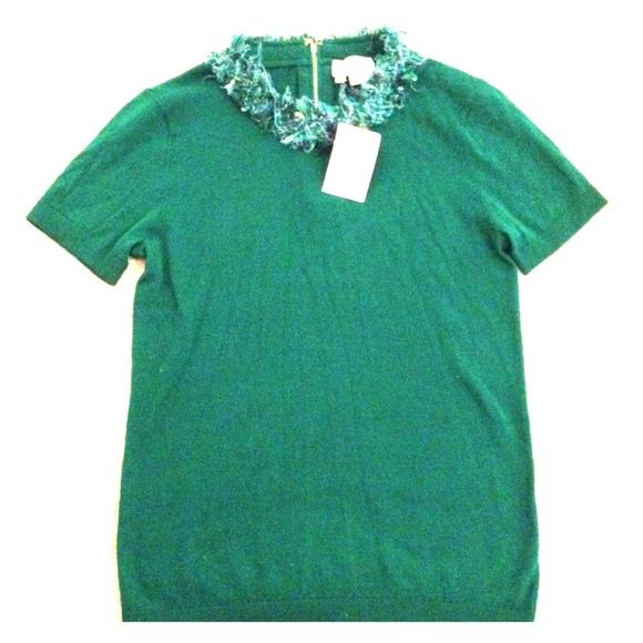 Kate Spade short sleeve sidekick sweater Super cute short sleeve kelly green Kate Spade sidekick sweater with fun tassel collar. Never been worn. Great for Spring with skinny jeans, heels and a blazer! kate spade Sweaters