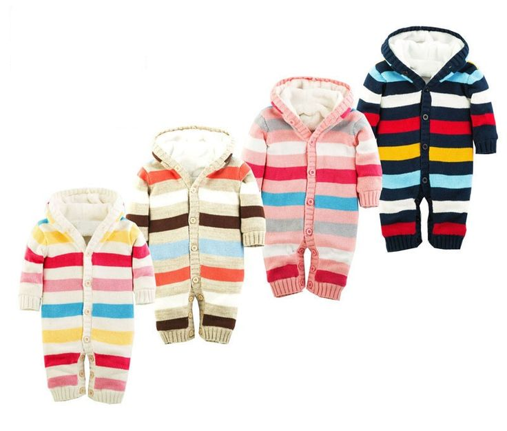 >> Click to Buy << Winter Baby Romper Striped Hooded Newborn Baby Clothes Plus Velvet Warm Infant Girl Costume 100% Cotton Baby Boy Rompers #Affiliate
