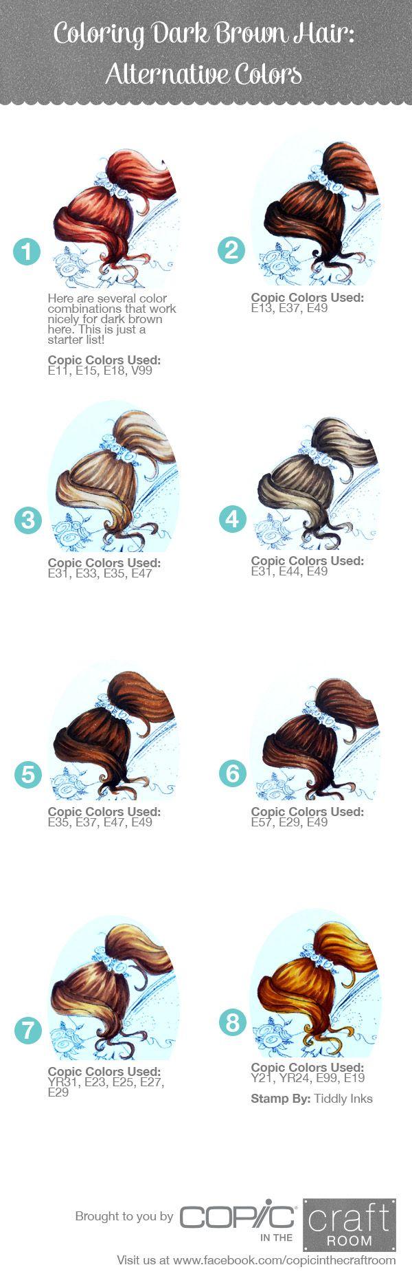 Copic Tutorial- Coloring Dark Brown Hair (Alternate Colors)