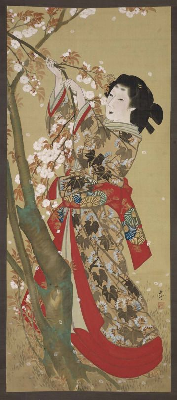 'Woman Picking Cherry Blossoms' (Edo period). Colour and gold on silk by Mihata Jôryû (Japanese, active 1830–1840).