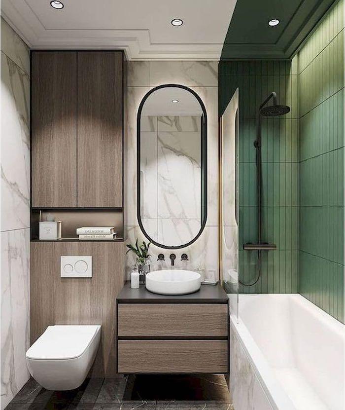 Green Tiles Bathroom Shower Ideas Wooden Cabinets Marble Tiles Floor Wall Black Shower He In 2020 Bathroom Design Small Small Bathroom Remodel Bathroom Interior Design