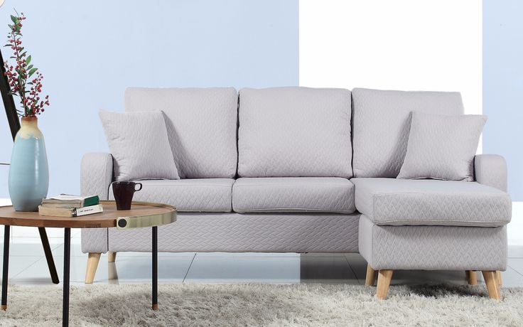 Introducing our new Studio Collection featuring this fabric linen sectional sofa - Easy to assemble and perfect size for a small apartment or studio! Comes equipped with hardwood frame and durable fab