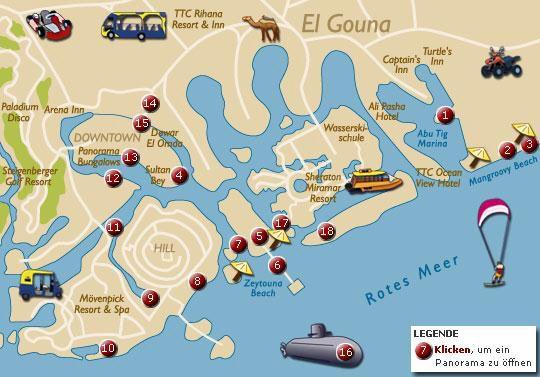 Karte - Lagunen Ferienort in der Wüste - El Gouna in Ägypten