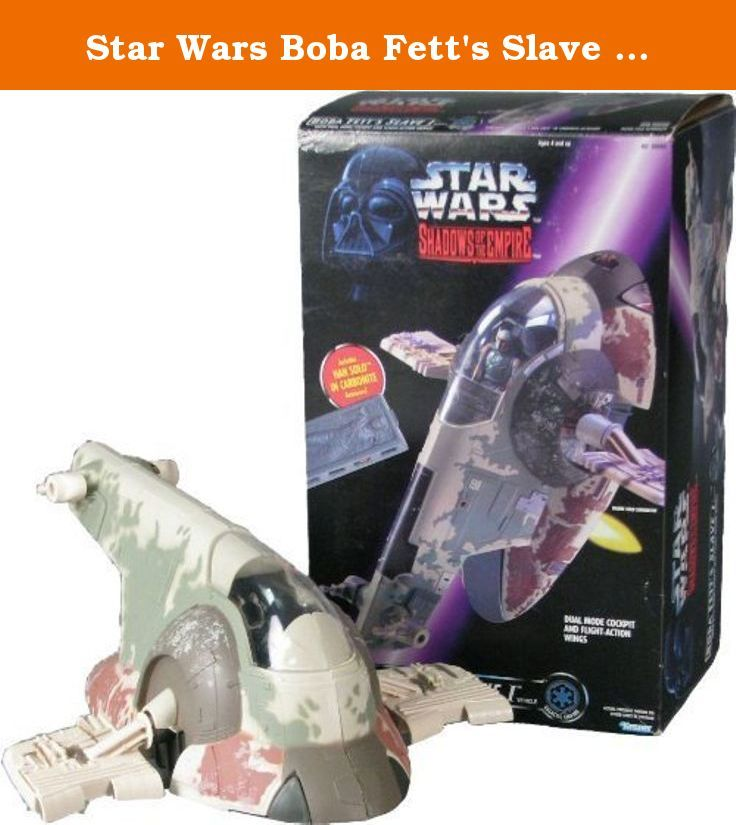 Star Wars Boba Fett's Slave I with Han Solo in Carbonite Shadows of the Empire toy. Produced by Kenner in 1996. This ship was made with two different box art variations. A purple Shadows of the Empire box and a green Power of the Force box. Both are identical other than the box art. Boba Fett action figure sold separately.