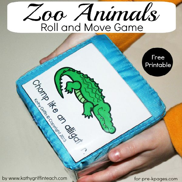 Fun Zoo Animal Roll and Move Game for building listening skills and vocabulary