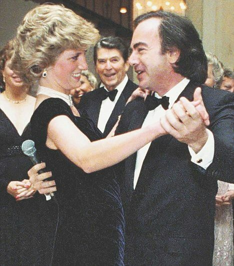Princess Diana dancing with Neil Diamond, President Ronald Reagan in the background at the White House event. Enjoy RUSHWORLD boards, DIANA PRINCESS OF WALES EXTENSIVE PHOTO ARCHIVE and UNPREDICTABLE WOMEN HAUTE COUTURE. Follow RUSHWORLD! We're on the hunt for everything you'll love! #PrincessDiana #LadyDiana #CandidPrincessDiana #RarePrincessDianaPhotos