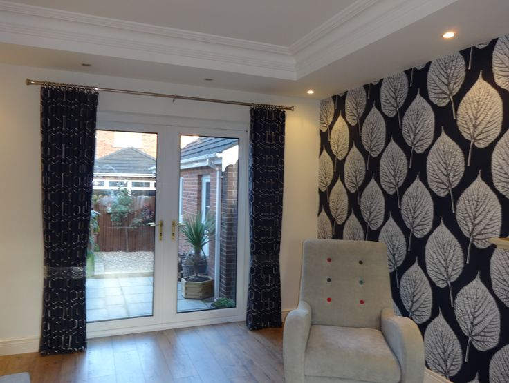 Lounge With Harlequin Momentum Leaf Wallpaper And Wave Top