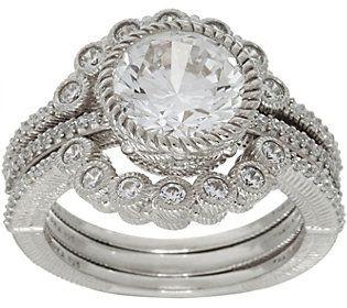Judith Ripka Sterling Silver 3.10 cttw Diamonique Ring Guard Set