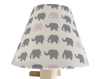 Grey Mini Pink Elephant Night Light - Baby Girl Nursery Decor - Grey Pink Night Light - Wall Decor-Nursery Night Light-Wall Decor-Girls Room