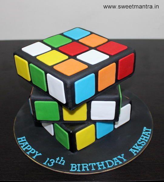 Rubik's cube puzzle shaped 3D designer fondant cake by Sweet Mantra - Customized 3D cakes Designer Wedding/Engagement cakes in Pune - http://cakesdecor.com/cakes/278166-rubik-s-cube-puzzle-shaped-3d-designer-fondant-cake