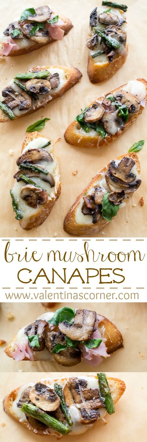 Toasted brie mushrooms canapes on a baguette. ValentinasCorner.com